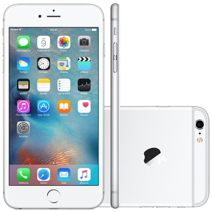 Iphone 6s Plus Apple 16gb Prata 4g Ios 9 3d Touch Chip A9 e Câmera de 12mp