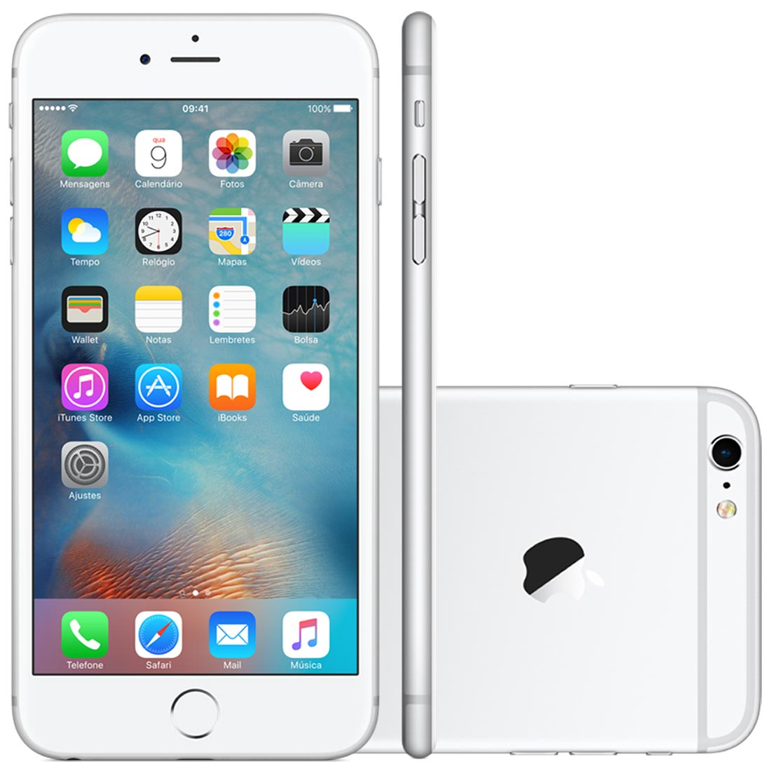 bb7e253c0 iPhone 6S Plus Apple 16GB Prata 4G iOS 9 3D Touch Chip A9 e Câmera ...