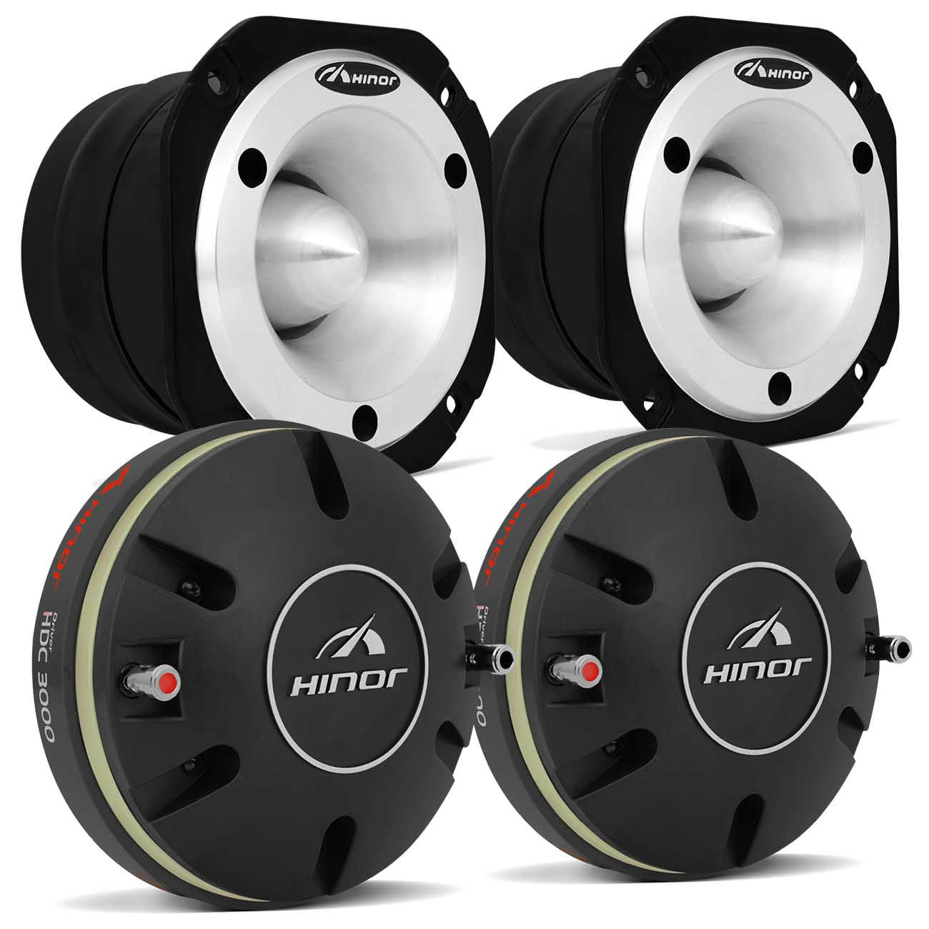 Kit 2 Drivers Hinor HDC 3000 400W + 2 Tweeters Hinor HST600