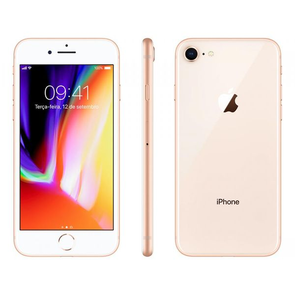 Iphone 8 apple 256gb dourado 4g tela 4,7