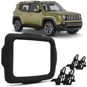 Moldura do Painel 2 Din Jeep Renegade 2015 2016 2017 2018 2019 2020 e PCD Preto Soft Player Original