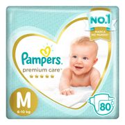 Fralda Pampers Premium Care M - 80 Unidades.