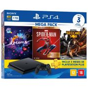 Console Playstation 4 Slim 1TB Bundle 17 + Dreams + Marvel`s Spider-Man Goty Edition + Infamous Second Son + PS Plus 3 Meses.
