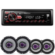 Rádio Automotivo Pioneer MVH-98UB MP3 Player 1 Din Media Receiver Android + Falantes Pioneer 200W